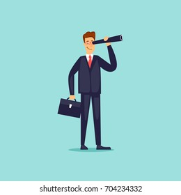 Businessman is looking in a telescope. Flat design vector illustration.