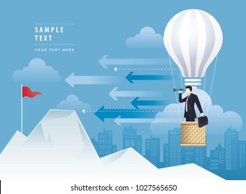 Businessman looking through binoculars on balloon shaped as a light bulb, Balloon flying up in the Sky, Mountain and the Red Flag, Concept of business risk, Challenge, Reach the target, Vision concept