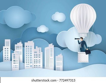 Businessman looking through binoculars on balloon shaped as a light bulb, Balloon flying up in the Sky,  Building in the City, Business vision concept, Paper art vector and illustration.