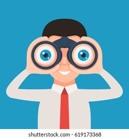Businessman looking through binoculars and smiling. Vector illustration in cartoon style