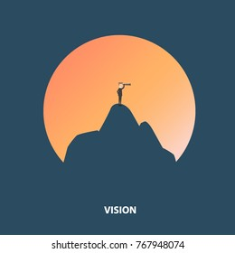 Businessman looking through telescope on top of the mountain. Business concept of vision, leadership, success and challenge. Vector illustration.