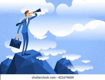 Businessman Looking Through Telescope Standing on Top Mountain Flat Vector Illustration