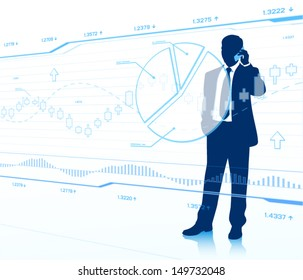 Businessman looking at touch screen (EPS10 vector)