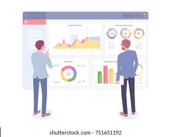 Businessman looks at growth chart. Back view of two businessmen looking at business strategy. Vector illustration