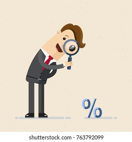 Businessman looks at a small percent sign  through a magnifying glass. Vector flat illustration
