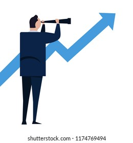Businessman looks through a telescope on growth arrow. Vision and Growth concept. Business concept cartoon illustration vector