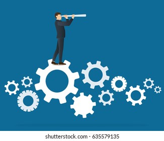 a businessman looks through a telescope standing on gears icon
