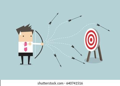 Businessman loser shooting arrow. vector