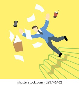 Businessman is losing balance and falling down on staircase while the file folder and tablet is in the air