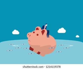 Businessman loss of savings. Concept business vector illustration, Sad, Risk, Problem.