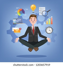 Businessman in lotus pose having break at work and meditate. Happy multitasking office worker in suit. Isolated flat vector illustration