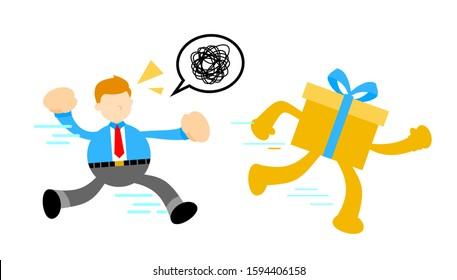 businessman love run gift box cartoon doodle flat design style vector illustration