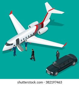 Businessman with luggage walking towards private jet at terminal. Bussines concept stewardess, pilot, limousine, corporate jet. Vector 3d flat isometric illustration. Business airlines.