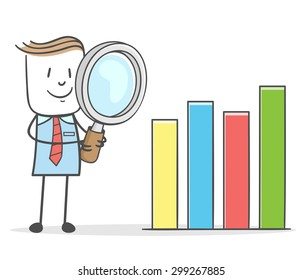 Businessman with a magnifying glass Checking Bar Graph