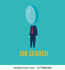 Businessman with a magnifying glass as a head. Vector Illustration