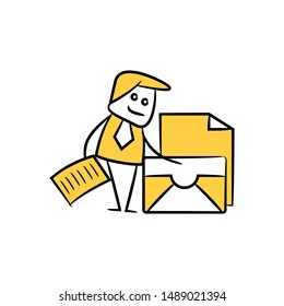 businessman and mail, document yellow stick figure design