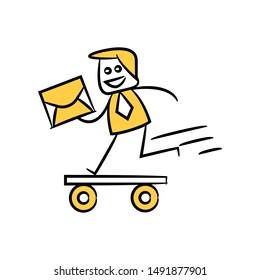 businessman and mail  running on skateboard stick figure design yellow stick figure design