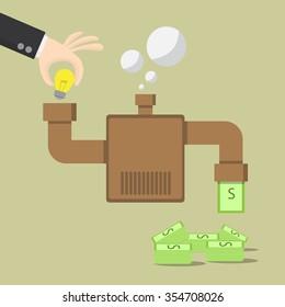 businessman make ideas for money on machine