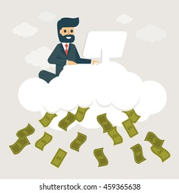 Businessman make money on cloud. Online business and fin tech concept vector illustration.