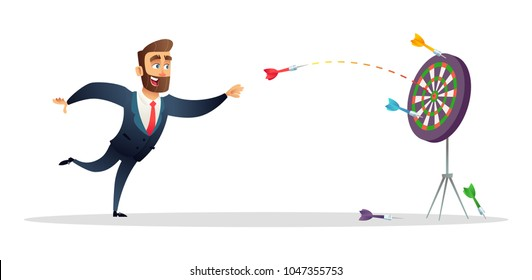 Businessman makes a dart throw on the target. The concept of persistence in business.