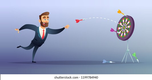 Businessman makes a dart throw on the target. The concept of persistence in business