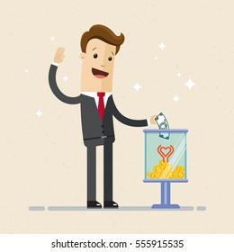 Businessman making a donation, putting money in donation box. Donation and charity concept.  Vector, Illustration, flat.