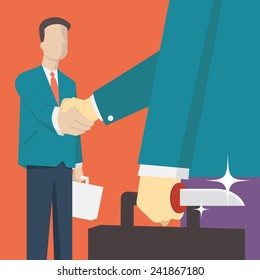 Businessman making handshake but hide sharp knife behind his back to kill partner or competitor. Simple character with flat design.