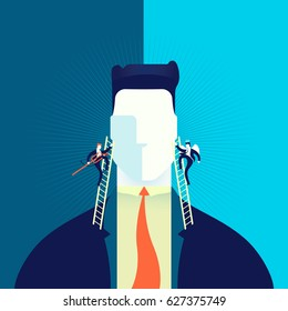 Businessman making hard decision with angel and demon in head, business concept illustration. EPS10 vector.