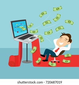 Businessman making money online, illustration vector cartoon