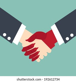 Businessman making a pact with the devil  - handshake business concept