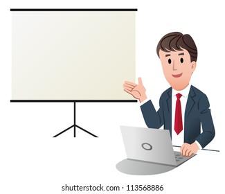 Businessman making presentation, with white presentation screen.