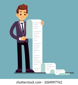 Businessman or male lawyer reading long paper list. Business questionnaire and document report vector concept. Paper list document, cartoon worker unhappy illustration