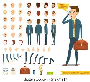 Businessman or male person character creation set.Collection of  emotions.Different men`s hairstyles,bended hands and legs.Side view,front,back of businessman.Vector elements for character animation