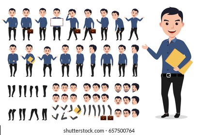 Businessman or male vector character creation set. Professional man holding folder with poses, gestures and emotions isolated in white. Vector illustration.