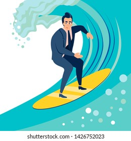 Businessman, a man catches a wave on a surf board. In minimalist style. Cartoon flat vector Illustration