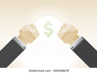 Businessman man crossing in finance debates or money negotiations. With shining dollar symbol as a theirs goal. Concepts: business relationships, quarrels, controversy, fights, market competition etc.