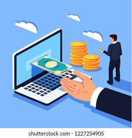 Businessman man office worker manager character receiving money electronic digital currency. Online banking exchange. Vector flat cartoon graphic design isolated illustration concept
