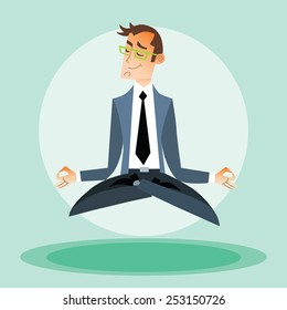Businessman man practices yoga and hovers in the air