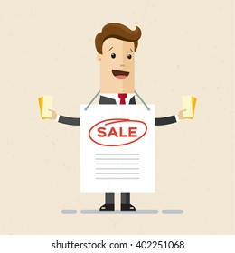 Businessman, manager, advertising agent, promoter with ad and flyers. Illustration, vector , flat