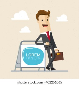 Businessman, manager, advertising agent is standing near advertising pylon or ad. Illustration, vector , flat