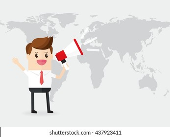 businessman or manager announced by megaphone loudspeaker on world map background. communicate and to publish community information