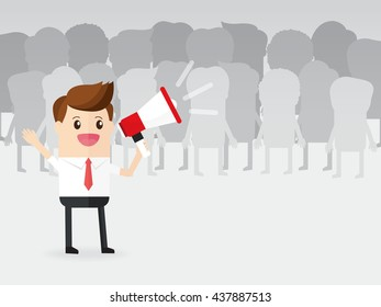 businessman or manager or boss using megaphone loudspeaker with colleagues business people