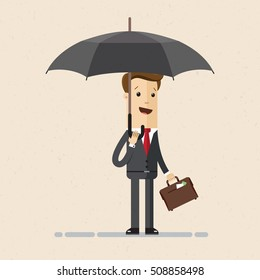 Businessman or manager  with briefcase in his hand stands in rain with an umbrella. Business concept. Vector, illustration, flat.