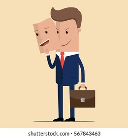 Businessman or manager character. Manager character happy and angry. Two faced character. Bad man wear good mask