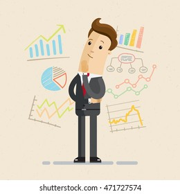 Businessman or manager with charts, diagrams, he is thinking. Infographic, chart statistic, business analysis.  Vector, illustration, flat