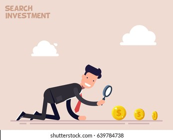Businessman or manager crawls on all fours in search of money and investment in business. Vector illustration in a flat cartoon style.