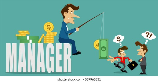 businessman manager with deceive,money and coins