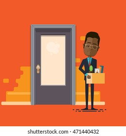 A businessman or manager fired, lowering, holding box with personal belongings, Vector illustration in flat, cartoon style isolated from the background, EPS 10