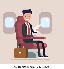 Businessman or manager flies in an airplane. Passenger man character sitting in chair and relax in business class. Vector flat cartoon illustration.