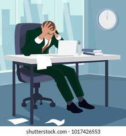 Businessman or manager grabbed his head in despair. Man sitting at table in office, around mess. Failure or problem concept. Simplistic realistic comic art style. Vector illustration